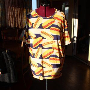 NWT LuLaRoe Irma Hot Dog picnic party down shirt